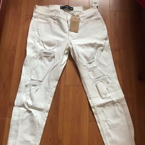 White Hollister Ripped Jeans
